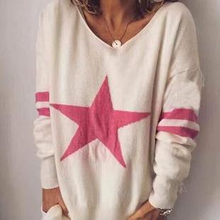 KRIS ANA Star Print Full Sleeves Jumper - Cream