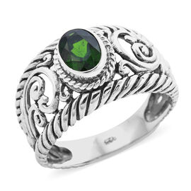 Royal Bali 1.40 Ct AA Russian Diopside Filigree Solitaire Ring in Sterling Silver