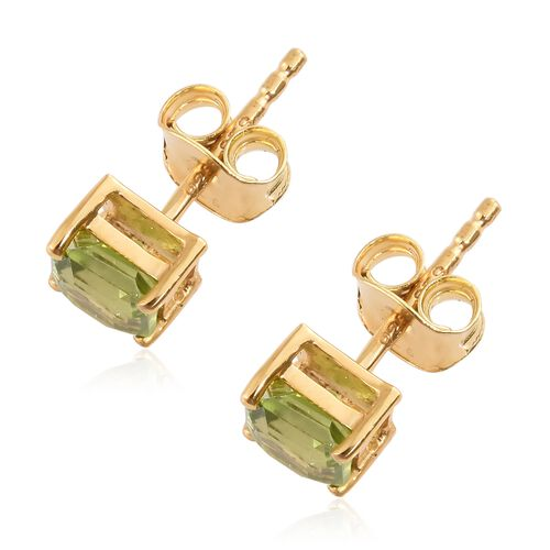 Hebei Peridot (Asscher Cut) Stud Earrings (with Push Back) in 14K Gold Overlay Sterling Silver 1.250 Ct.