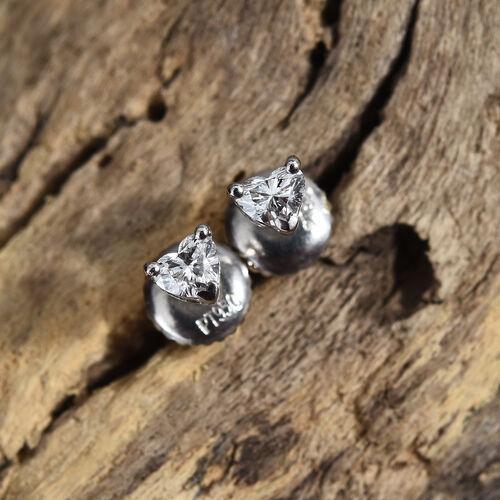 RHAPSODY 950 Platinum Diamond (Hrt) (VS / F) Heart Stud Earrings 0.250 Ct.