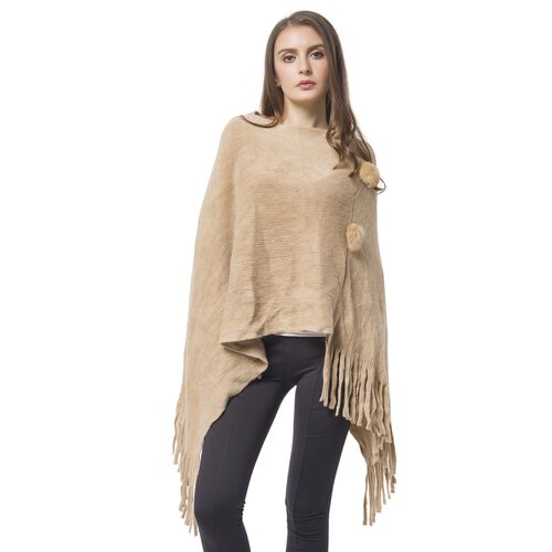 Designer Inspired - Khaki Colour Pom Pom Embellished Poncho with Tassels (One Size)