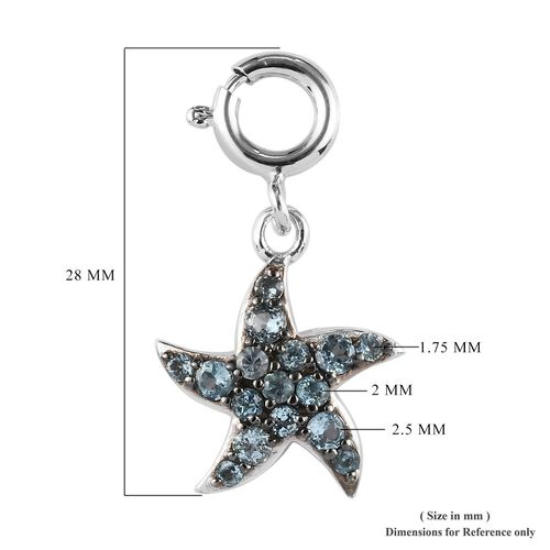 Sundays Child - Swiss Blue Topaz Star Fish Charm in Platinum Overlay Sterling Silver with Black Plating