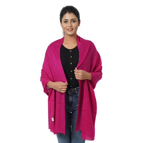 Limited Available -  Super Soft - 100% Cashmere Wool Fuchsia Colour Shawl with Fringes (Size 190x68Cm)