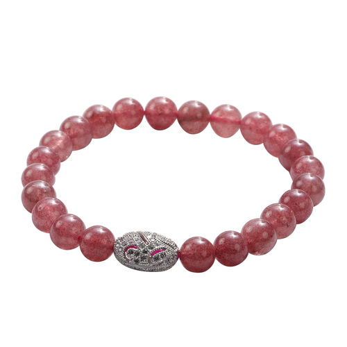 Strawberry Quartz and Simulated Diamond Beads Stretchable Bracelet (Size 7.5) in Silver Tone 89.50 Ct.