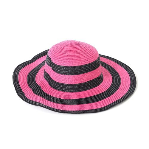 St. Tropez Collection-Fuchsia and Black Colour Stripe Pattern Tote Bag (Size 55x35x31x17 Cm) and Hat (Size 28x20 Cm)