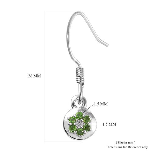 Russian Diopside and Natural Cambodian Zircon Floral Hook Earrings in Platinum Overlay Sterling Silver