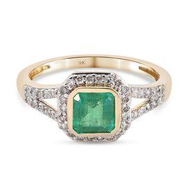 WEBEX 9K Yellow Gold  Zambian Emerald, White Diamond Main Stone With Surrounding Stone Ring in Rhodi