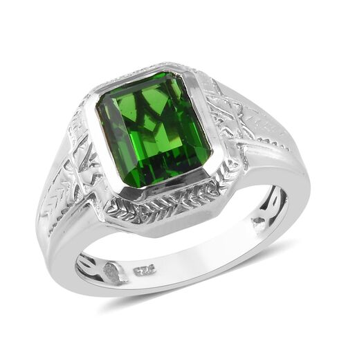 3 Carat Helenite Solitaire Ring in Platinum Plated Sterling Silver