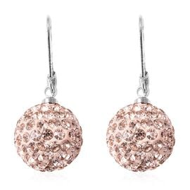 Champagne Colour Austrian Crystal (Rnd) Lever Back Earrings in Stainless Steel