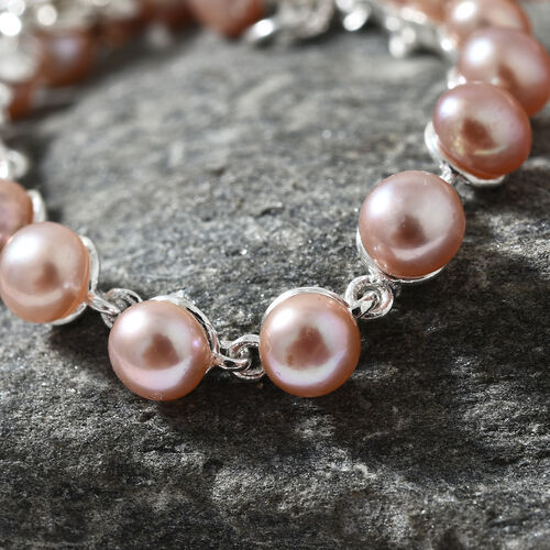Fresh Water Pink Pearl (Rnd 5.mm) Bracelet (Size 7.5) in Sterling Silver 18.000 Ct, Silver wt 5.44 Gms