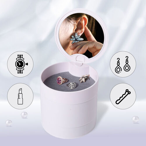 360 Degree Rotatable Round Shape 4 Layer Jewellery Organiser with Mirror (Size 12x12cm) - White