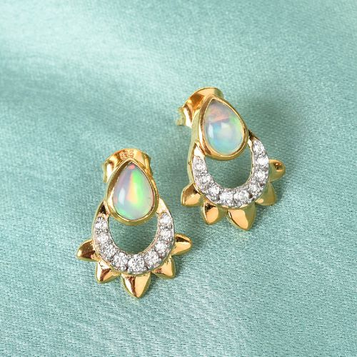 Ethiopian Welo Opal and Natural Cambodian Zircon Earrings in 14K Gold Overlay Sterling Silver 1.19 Ct.