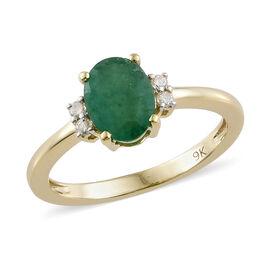 9K Yellow Gold AA Kagem Zambian Emerald (Ovl) Diamond Ring 1.100 Ct.
