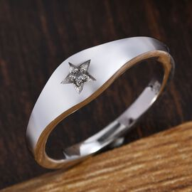Diamond (Rnd) Star Ring in Platinum Overlay Sterling Silver