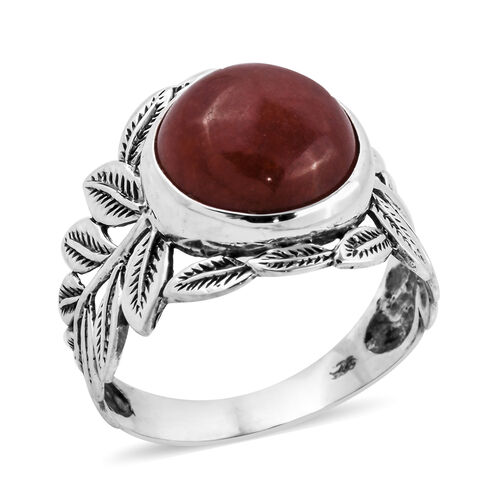Royal Bali 7.74 Ct Red Jade Solitaire Ring in Sterling Silver