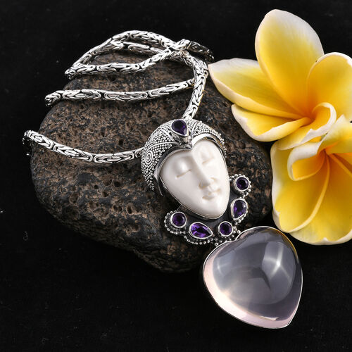 Princess Bali Collection OX Bone Carved Face, Rose Quartz and Amethyst Pendant in Sterling Silver 89.851 Ct.Silver Wt 15.00 Gm