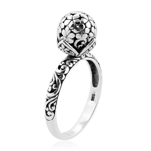 Royal Bali Collection Sterling Silver Flower Ball Ring, Silver wt 3.97 Gms.