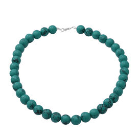 GreenTurquoise Beads Necklace (Size - 18) in Sterling Silver 348 Ct.