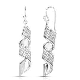 Sterling Silver Diamond Cut Hook Dangle Earrings