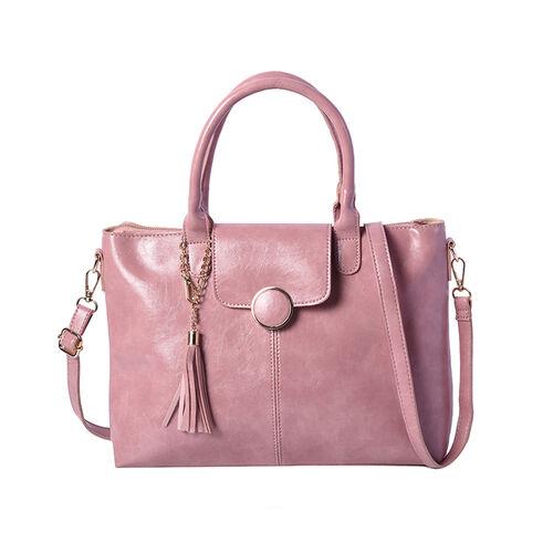 Solid Pink Tote Bag (35x12x26cm) with Adjustable Shoulder Strap and Tassel