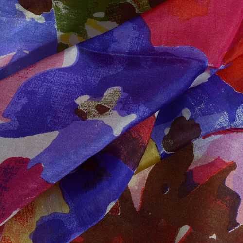 100% Mulberry Silk Pink, Blue and Multi Colour Floral Hand Screen Printed Scarf (Size 170X100 Cm)