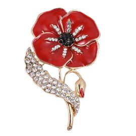 TJC Poppy Design - Red, and Black Austrian Crystal Flower Brooch in Gold Tone