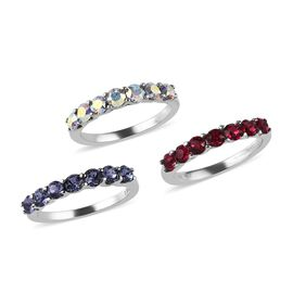 3 Piece Set - J Francis - Crystal from Swarovski AB Crystal, Tanzanite Colour Crystal, Ruby Colour Crystal Half Eternity Ring in Stainless Steel