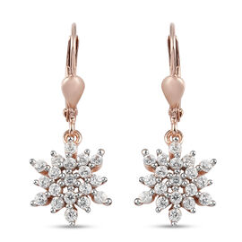 Natural Cambodian Zircon Lever Back Earrings in Rose Gold Overlay Sterling Silver 1.140 Ct.