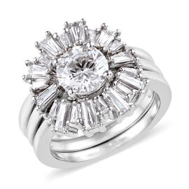 J Francis Made with SWAROVSKI ZIRCONIA Stacker Ring in Platinum Plated Silver 7.07 Grams