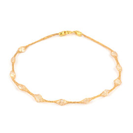 Vicenza Collection 9K Yellow Gold Cubic Zirconia Station Bracelet (Size 7.5)