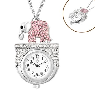 STRADA Japanese Movement Multi Colour Austrian Crystal Studded Water Resistant Elephant Pocket Watch