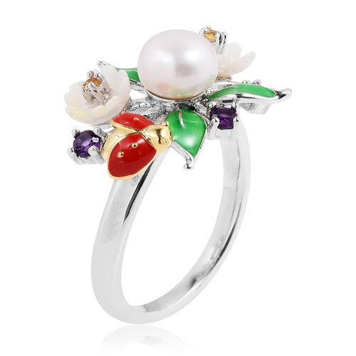 JARDIN COLLECTION - Fresh Water White Pearl, White Mother of Pearl, Amethyst and Multi Gemstone Floral Enameled Ring in Rhodium Overlay Sterling Silver, Silver wt 5.15 Gms