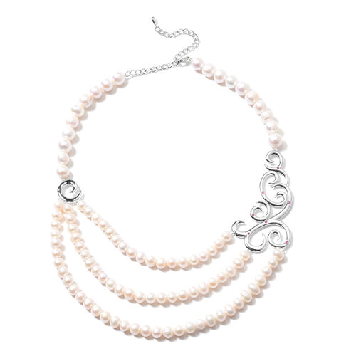 LucyQ Swirl Collection - Freshwater White Pearl and African Ruby Swirl Design Three Strand Necklace