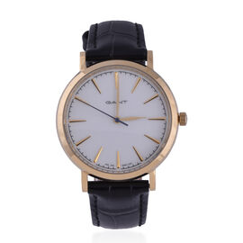 GANT White Dial Ladies Watch with Black Leather Strap