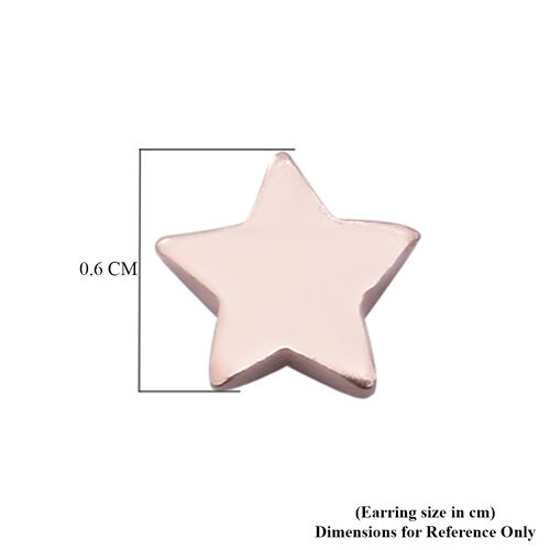 Rose Gold Overlay Sterling Silver Star Stud Earrings (with Push Back)