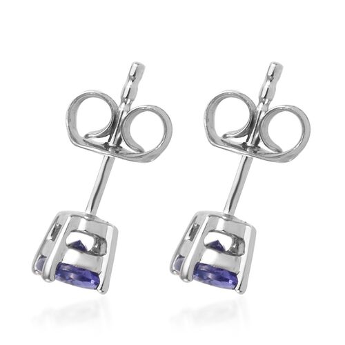 9K White Gold AA Tanzanite (Ovl) Stud Earrings (with Push Back) 1.25 Ct.
