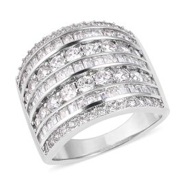 Simulated Diamond (Rnd and Bgt) Ring in Silver Plated