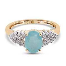 GP - 9K Yellow Gold AA Grandidierite, Diamond and Blue Sapphire Ring 1.45 Ct.