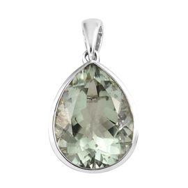 7.50 Ct Prasiolite Solitaire Drop Pendant in Platinum Plated Sterling Silver