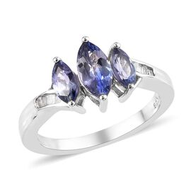 1.05 Ct Tanzanite and Diamond Trilogy Ring in Platinum Plated Sterling Silver