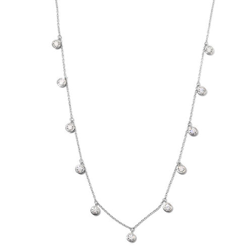 J Francis Platinum Overlay Sterling Silver Station Necklace (Size 18) made with SWAROVSKI ZIRCONIA 5