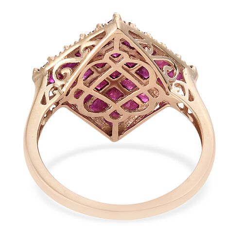 Designer Inspired- 9K Yellow Gold AAA Burmese Ruby (Princess) Ring 3.750  Ct.