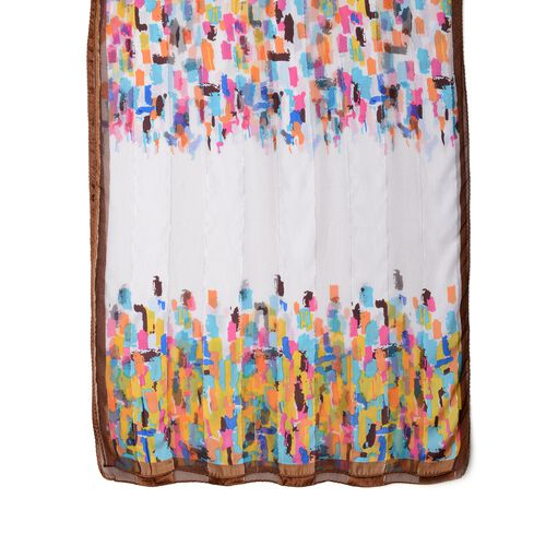 100% Mulberry Silk Blue, Pink, Yellow and Multi Colour Stripe Shape Pattern Scarf (Size 170x53 Cm) (Weight 40 Gms)