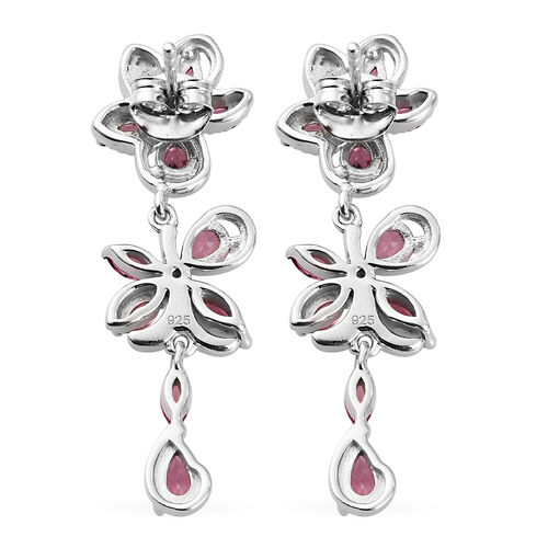 Orissa Rose Garnet and Natural Cambodian Zircon Dangle Earrings (with Push Back) in Platinum Overlay Sterling Silver 3.50 Ct.
