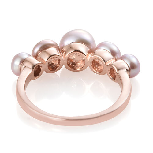 Freshwater Pink Pearl (Rnd) Ring in Rose Gold Overlay Sterling Silver 4.000 Ct.