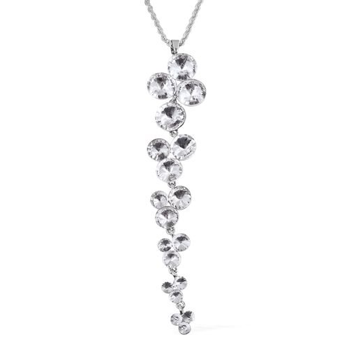 White Austrian Crystal (Rnd) and Simulated Diamond Pendant With Chain (Size 30 with 2 inch Extender) in Silver Plated