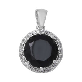 8.14 Ct Boi Ploi Black Spinel and Zircon Halo Pendant in Rhodium Plated Silver