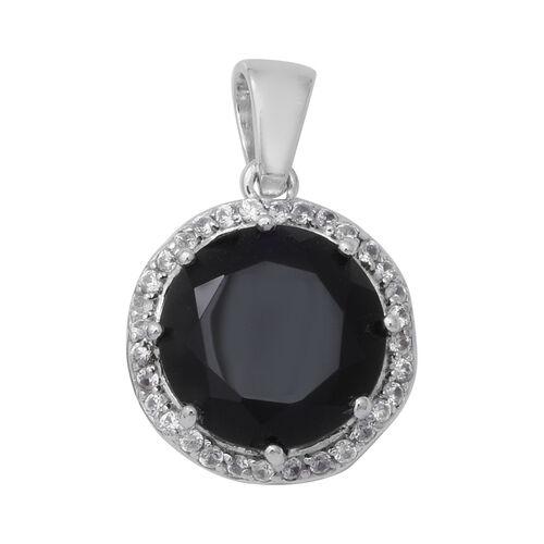 8.14 Ct Boi Ploi Black Spinel and Zircon Halo Pendant in Rhodium Plated Silver