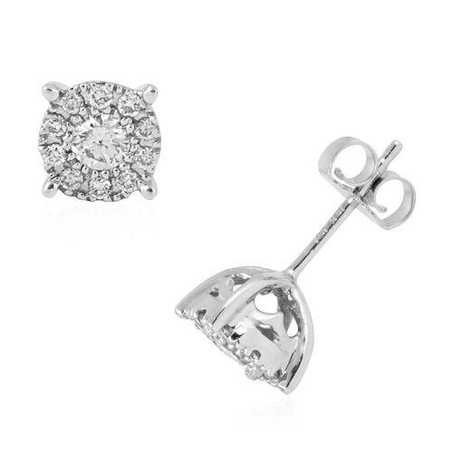 New York Close Out- 14K White Gold Diamond (Center Rnd 0.25 Ct) (I1-I2) Earrings 0.500 Ct.
