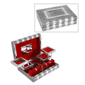 Hawa Mahal Embossed Handcrafted Jewellery Organizer with 4 Extendable Trays, Inside Mirror and Red V